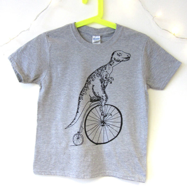 Kids T-Rex on a Penny Farthing T-shirt