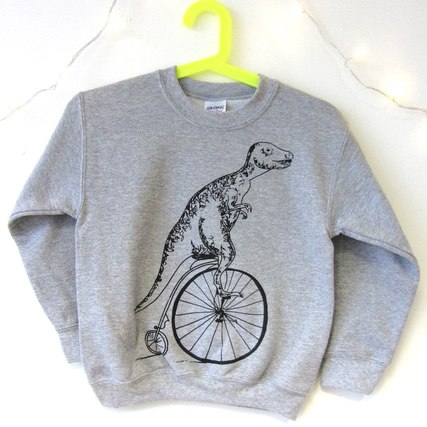 Kids T-rex on a Pennyfarthing Sweatshirt