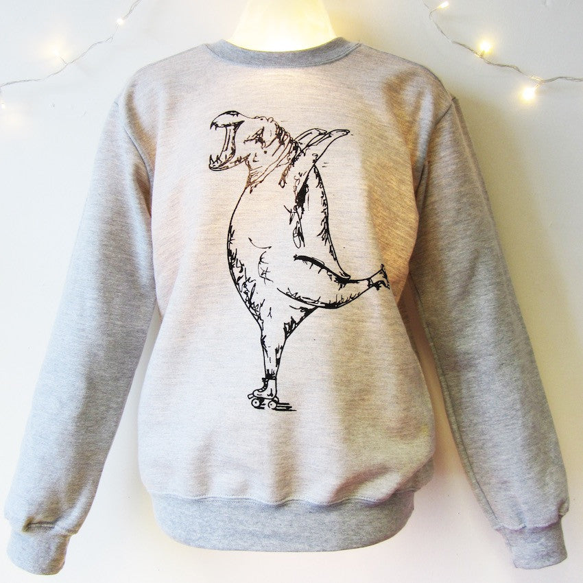 Hippo on Roller Skates Sweatshirt
