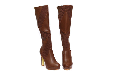 Miss Black Tan High Heel Boot - Andrea