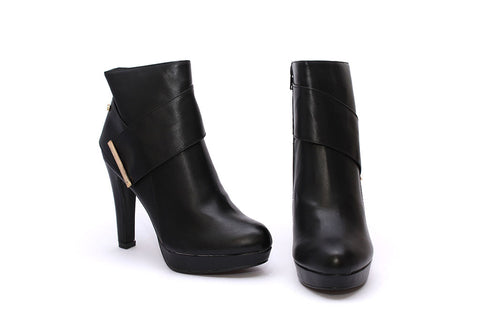 Miss Black Ladies High Heel Ankle Boot - Rana