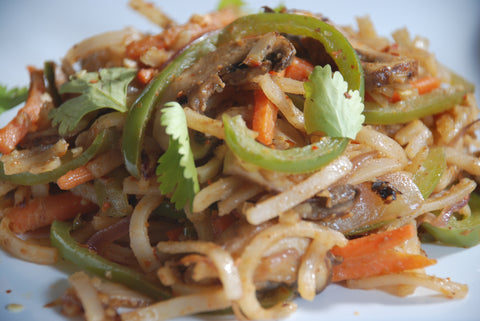 spicy asian stir fry noodles with mumbai chaat peanut butter