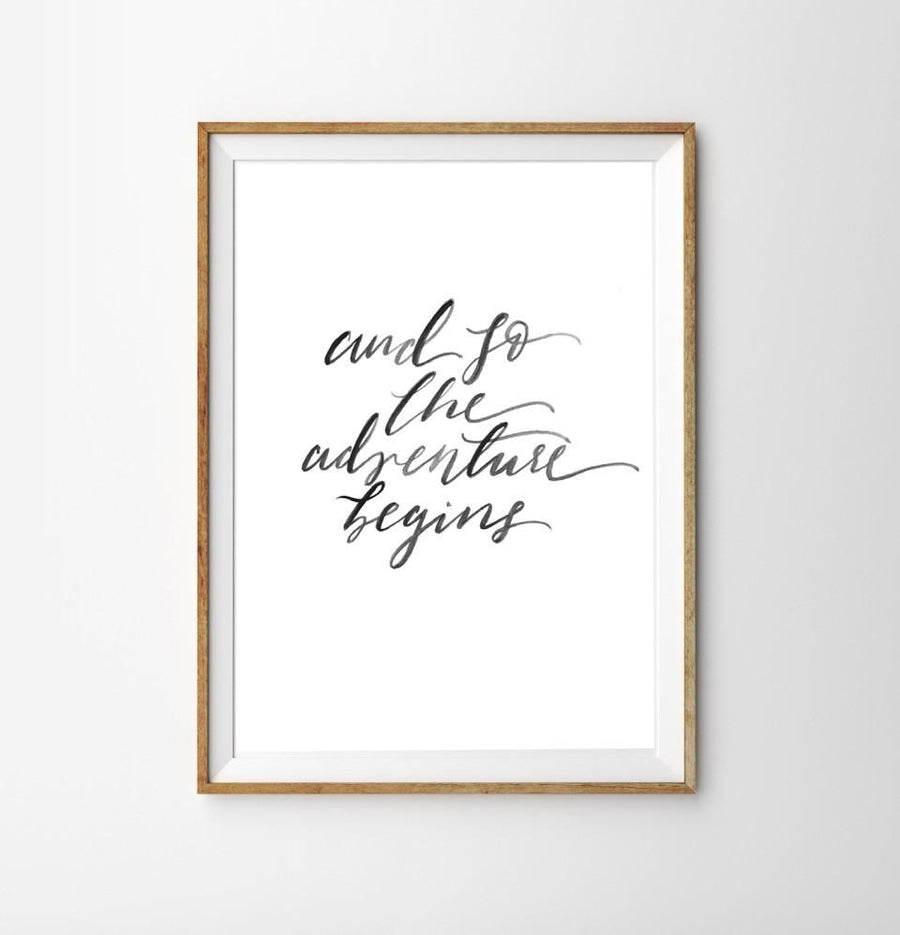 Adventure Begins Print - Hand Lettered Prints - Wayfaren