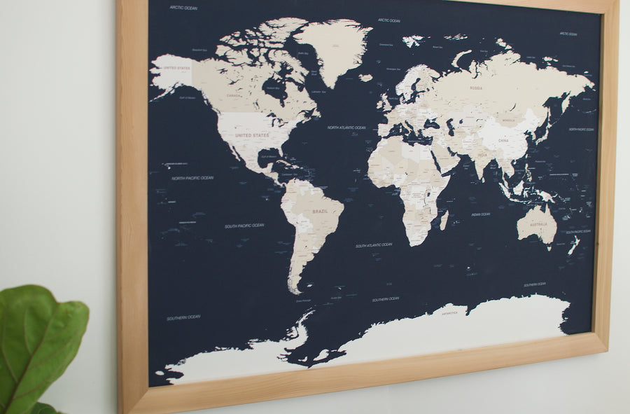 Large Navy World Push Pin Map (Natural Frame) - Large World Maps - Wayfaren