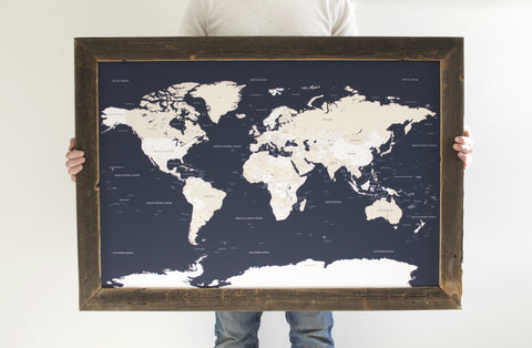 Navy World Reclaimed Push Pin Travel Map (24x36)