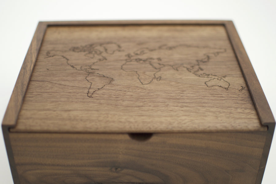World Map Walnut Keepsake Box - Keepsake Boxes - Wayfaren