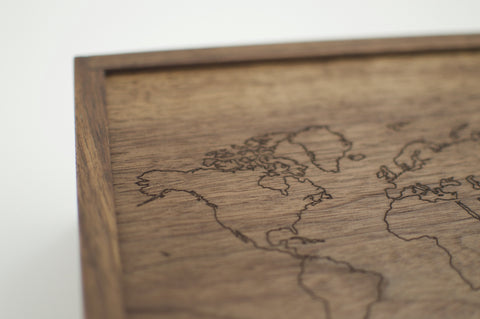 World Map Walnut Keepsake Box