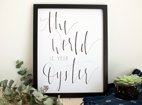 Custom Hand Printed The World is Your Oyster Print (White)