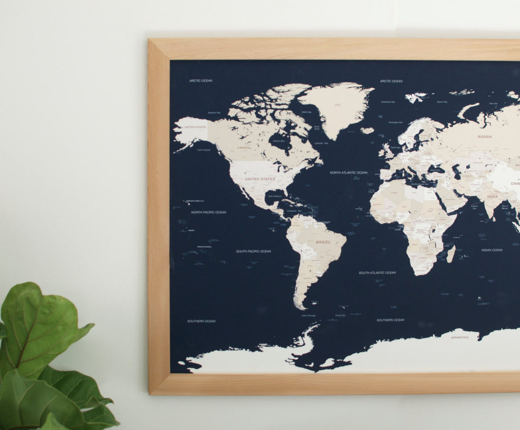 Navy world travel map with pins 24x36 wayfaren large navy world push pin map natural frame large world maps wayfaren gumiabroncs Image collections