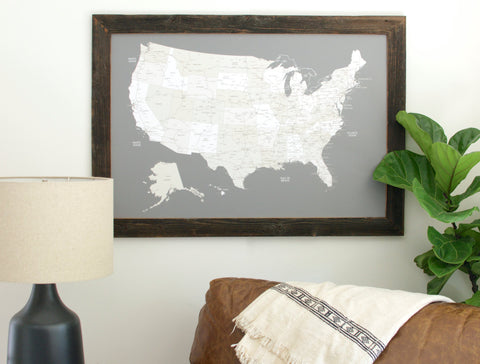 Reclaimed US Push Pin Travel Map (24x36)