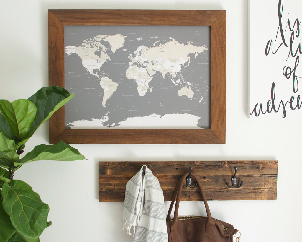 Walnut small world map with pins only countries 17x24 wayfaren small grey world push pin map walnut frame small world maps wayfaren gumiabroncs Image collections