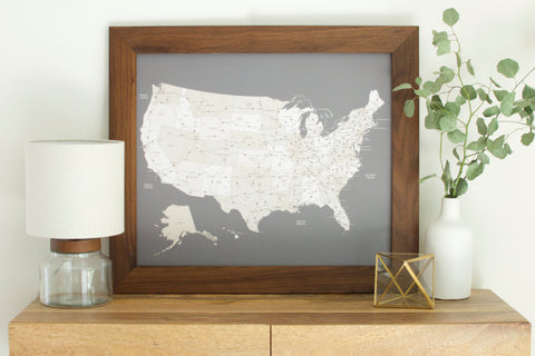 Walnut US Push Pin Travel Map (20x24)