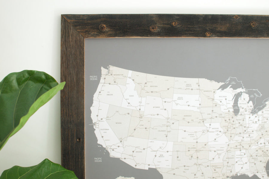 Small Grey US Push Pin Travel Map (Reclaimed Frame) - Small US Maps - Wayfaren