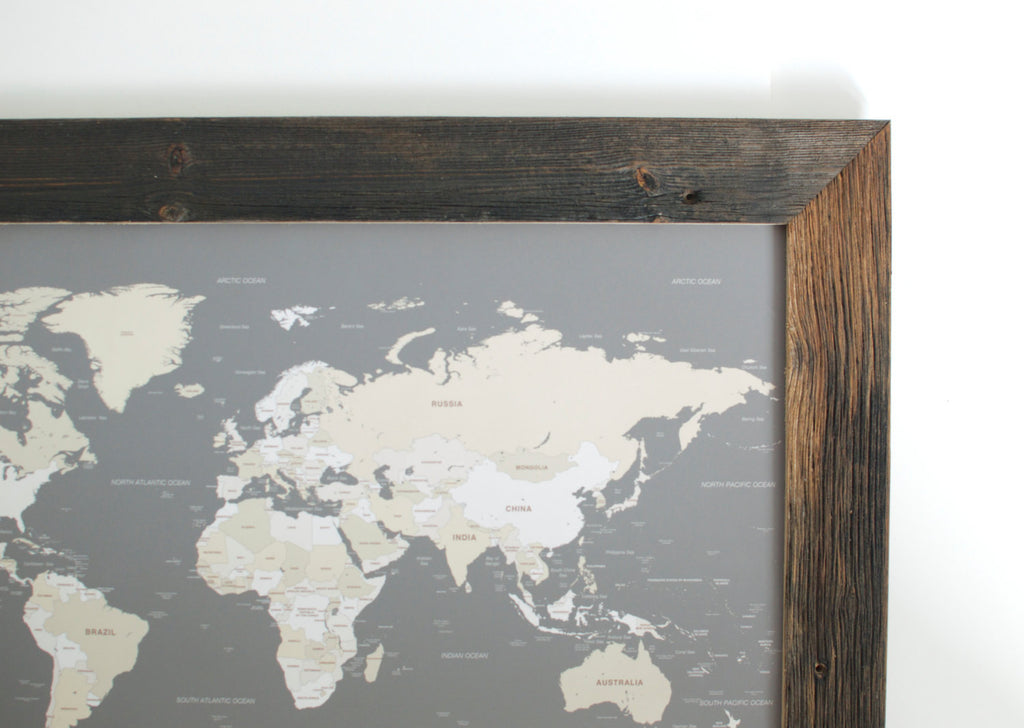 Reclaimed small world push pin travel map only countries 17x24 small grey world push pin map reclaimed frame small world maps wayfaren gumiabroncs Image collections