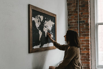 Large Navy World Push Pin Travel Map (Walnut Frame) - Large World Maps - Wayfaren