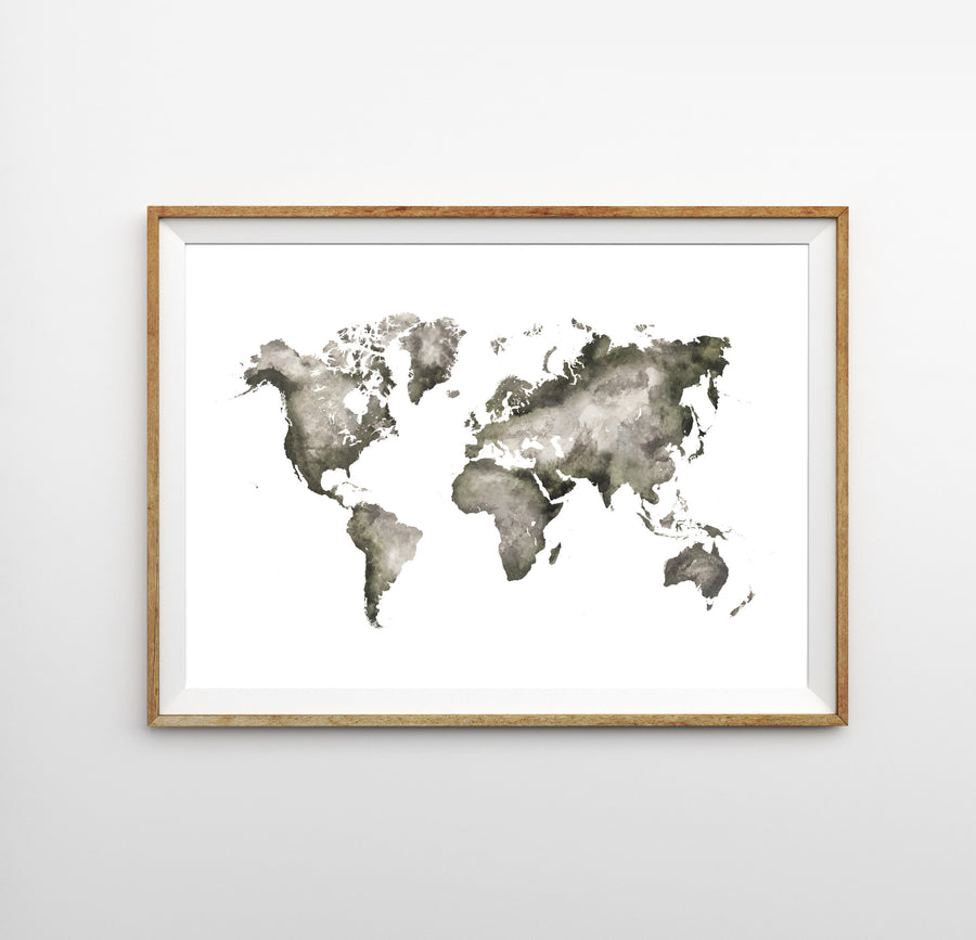 Watercolor World Map Print - Watercolor World Map - Wayfaren
