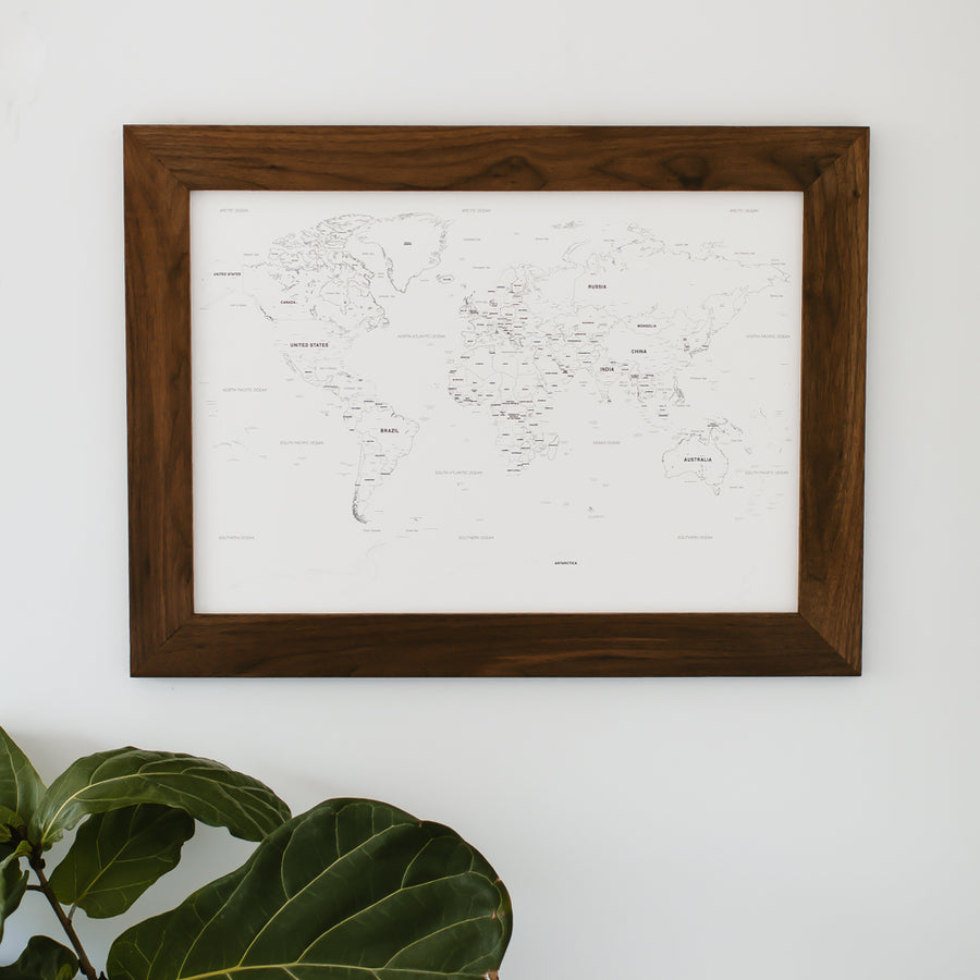 Small Ivory World Push Pin Travel Map - Small World Maps - Wayfaren