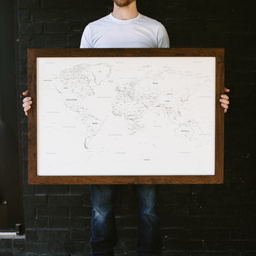 Large Ivory World Push Pin Travel Map - Large World Maps - Wayfaren