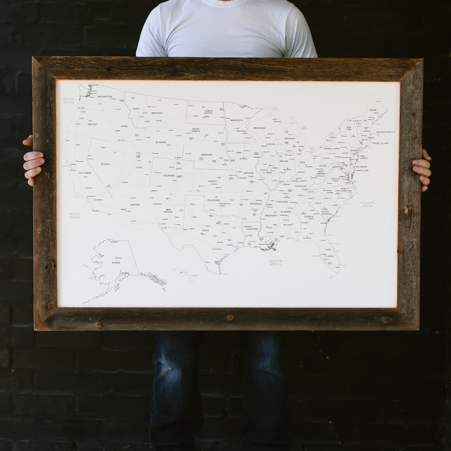 Large Ivory US Push Pin Travel Map - Large US Maps - Wayfaren