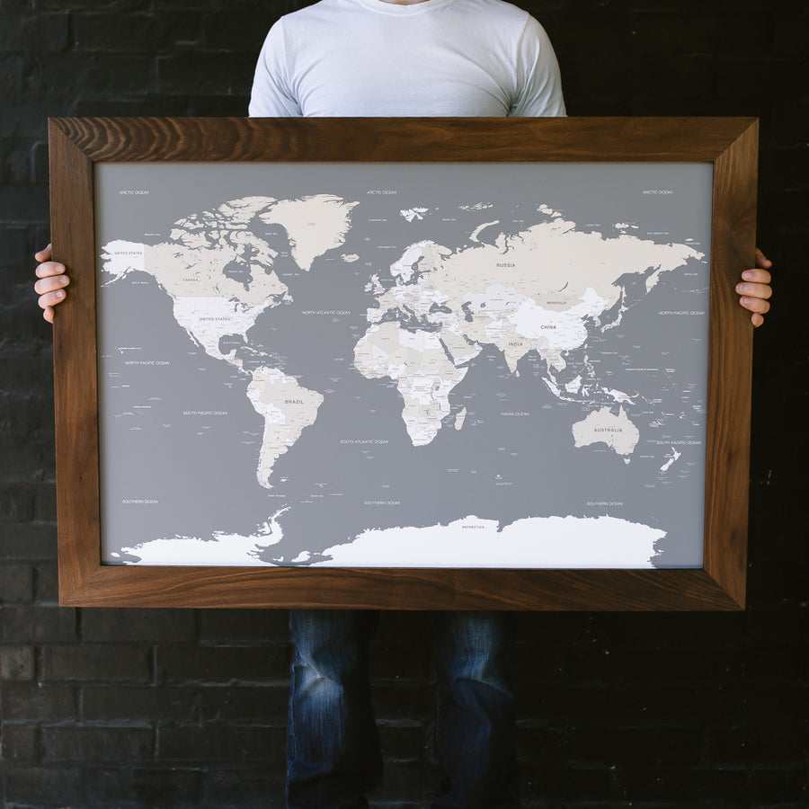 Large Grey World Push Pin Travel Map - Large World Maps - Wayfaren
