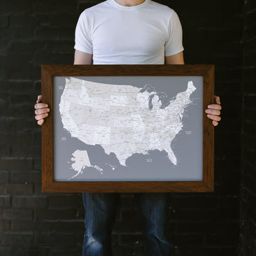 Small Grey US Push Pin Travel Map - Small US Maps - Wayfaren