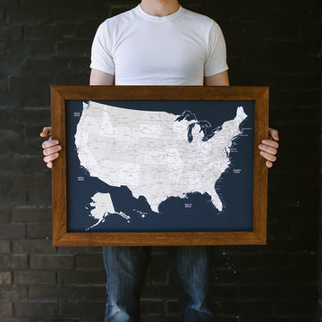 Small Navy US Push Pin Travel Map - Small US Maps - Wayfaren