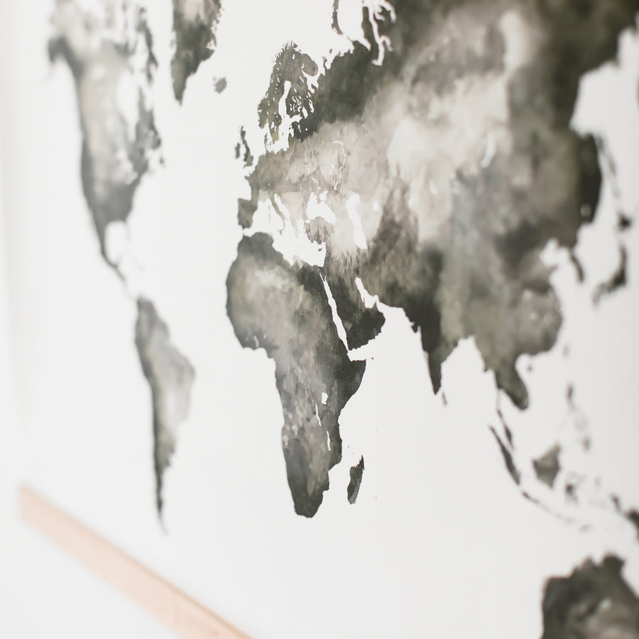 Watercolor World Map (Hanging Canvas) - Watercolor World Map - Wayfaren