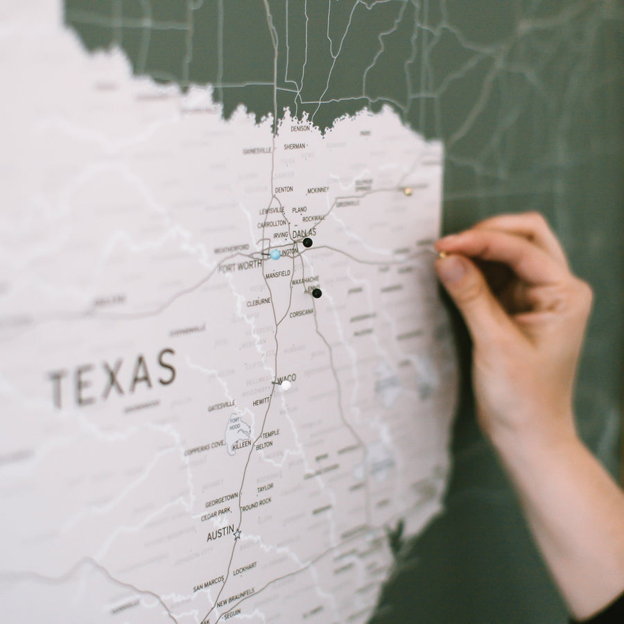Large Grey Texas Push Pin Travel Map - State Maps - Wayfaren