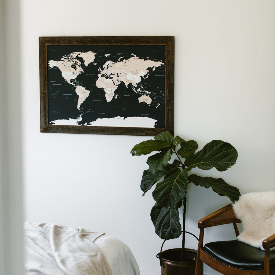 Large Navy World Push Pin Travel Map - Large World Maps - Wayfaren