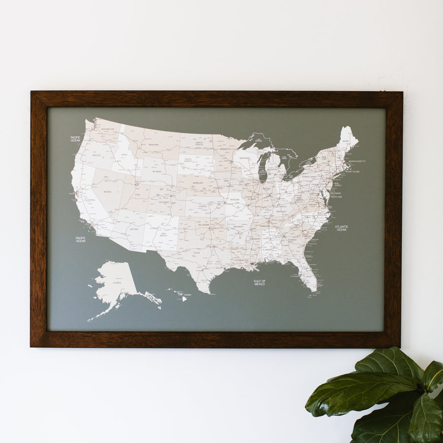 Large Grey US Push Pin Travel Map - Large US Maps - Wayfaren