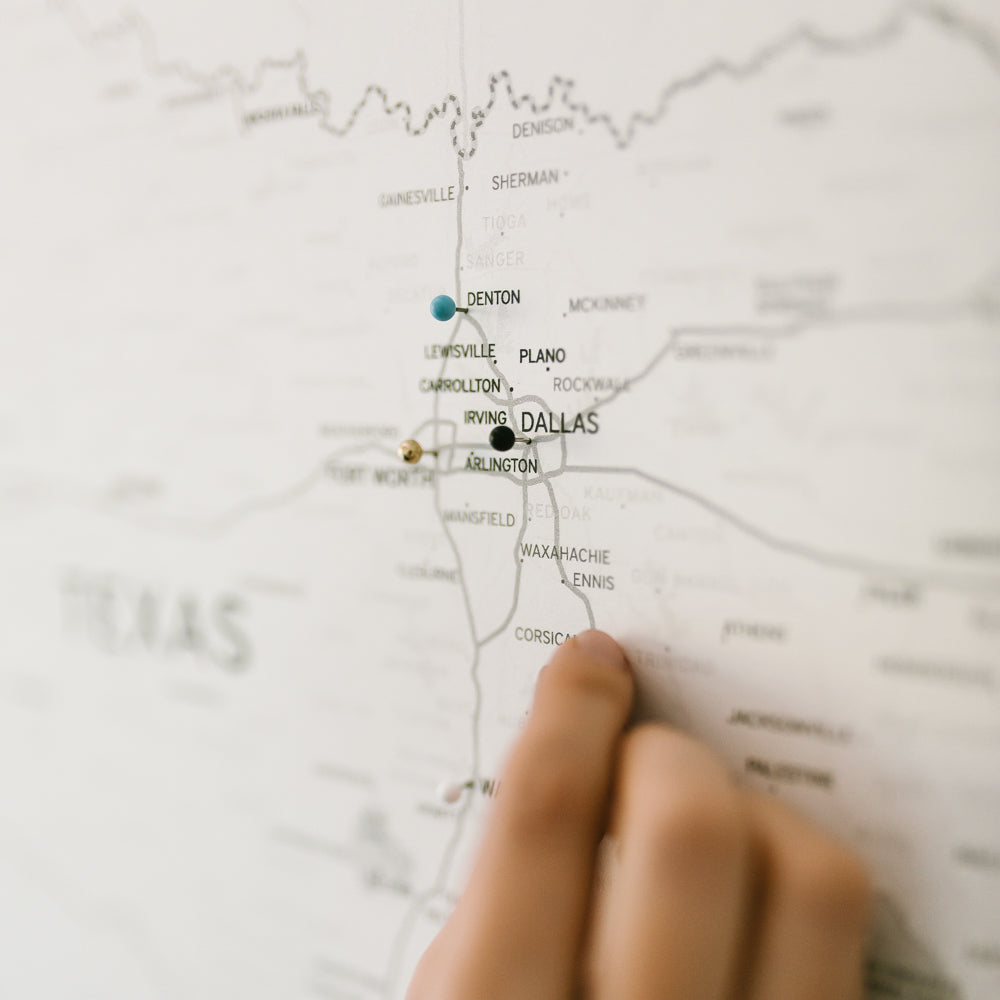 Large Ivory Texas Push Pin Travel Map - State Maps - Wayfaren