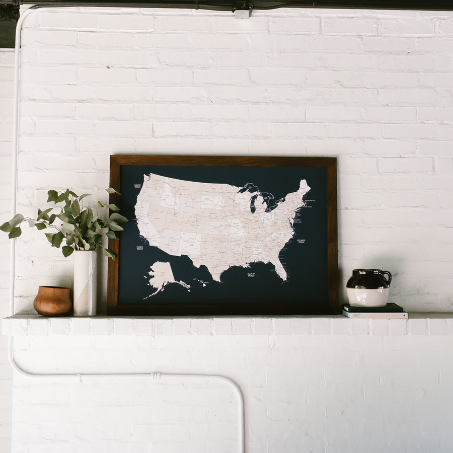 Large Navy US Push Pin Travel Map - Large US Maps - Wayfaren