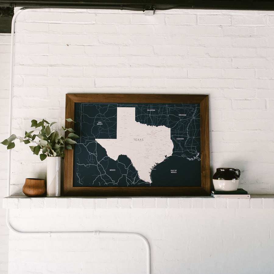 Large Navy Texas Push Pin Travel Map - State Maps - Wayfaren