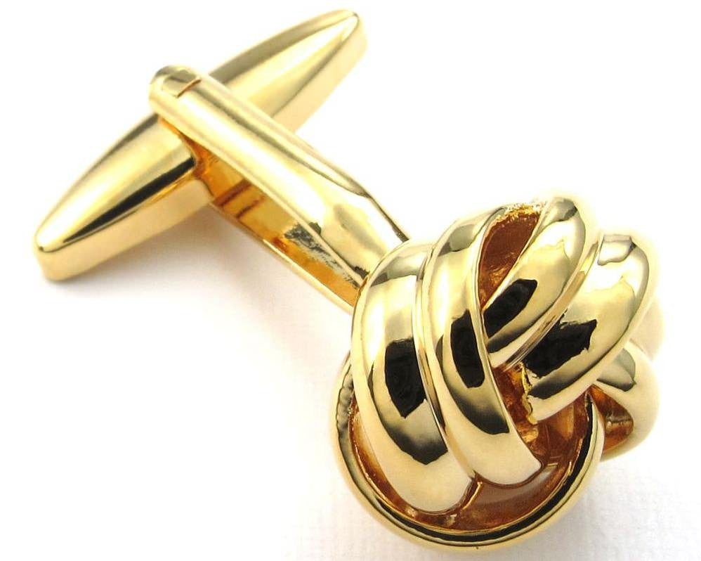 Gold Love Knot Cufflinks and Studs Set