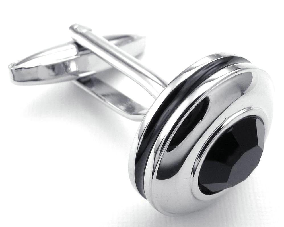Silver Black stone Rounded Cufflinks & Studs
