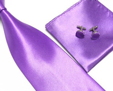 Purple Tie, handkerchief, cufflinks, 100% Silk