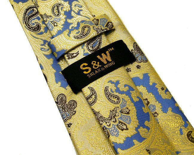 Paisley Yellow Blue Tie, 100% Silk