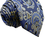 Floral Blue Yellow Tie, 100% Silk
