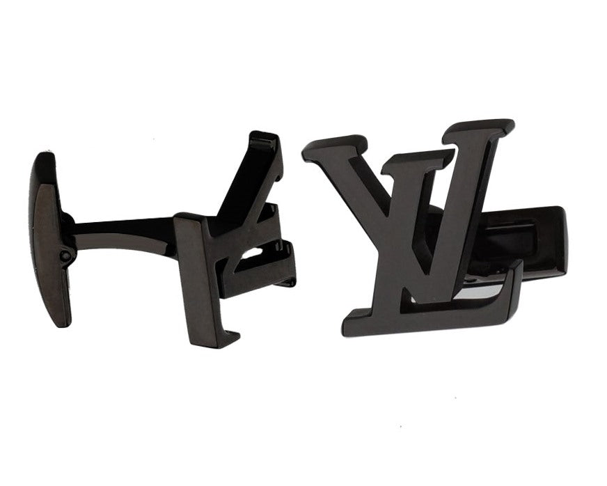 LV INSPIRED BLACK GUN PLATED CUFFLINKS
