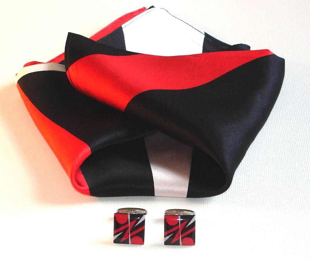 """Red Arrow""  Cufflinks with matching Scarf"
