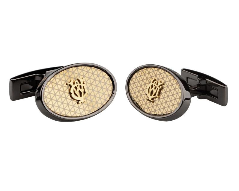 Dunhill inspired black gun plated cufflinks
