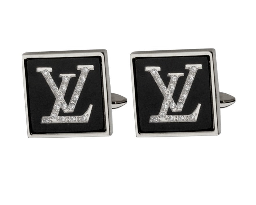 LV INSPIRED SILVER PLATED CUFFLINKS