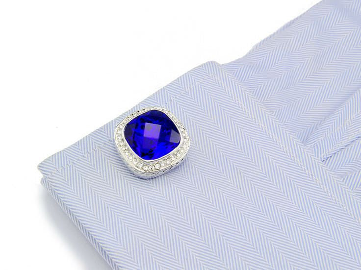 Blue man-made platinum plated cufflinks