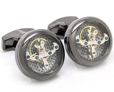 Polished black Steel Tourbillon Cufflinks
