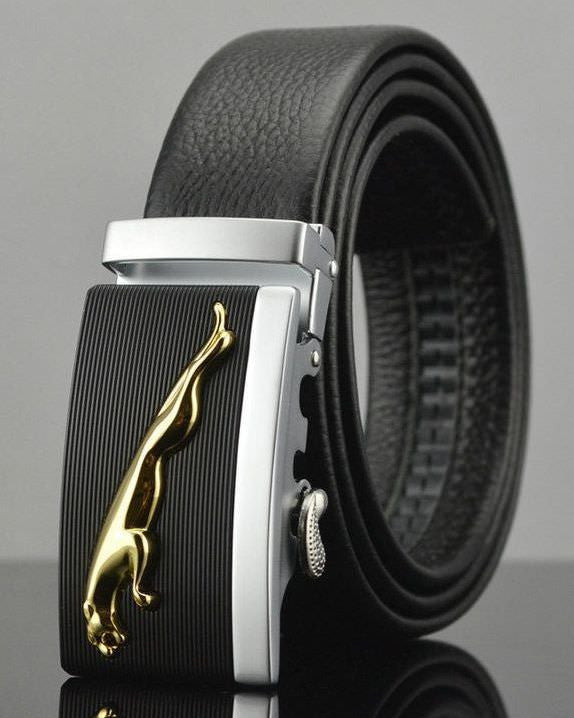 Genuine leopard leather belt, automatic buckle