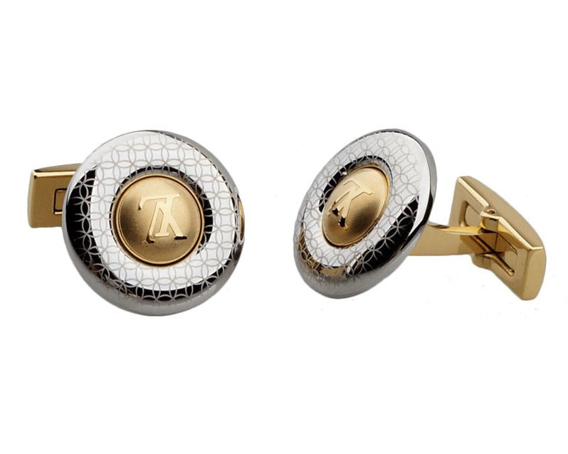 LV INSPIRED GOLD PLATED ROUND CUFFLINKS