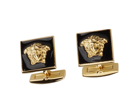 AIGNER INSPIRED BLACK GUN PLATED CUFFLINKS