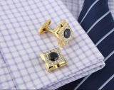 GOLD SQUARE CRYSTAL CUFFLINKS