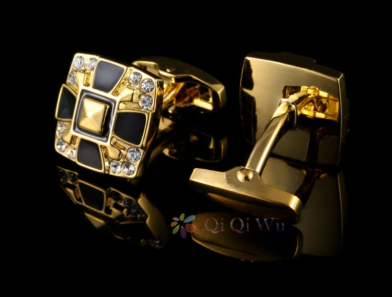 GOLD AND BLACK SQUARE CUFFLINKS