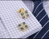 SQUARE GOLD CRYSTAL CUFFLINKS